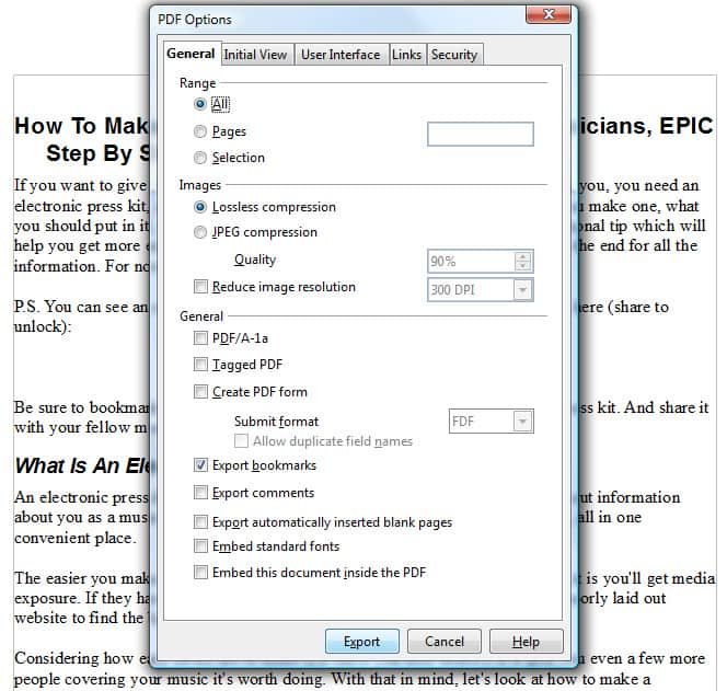 A band exporting a electronic press kit as a PDF