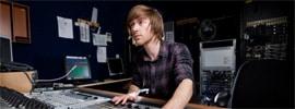 Studio engineer working at his newly built recording studio