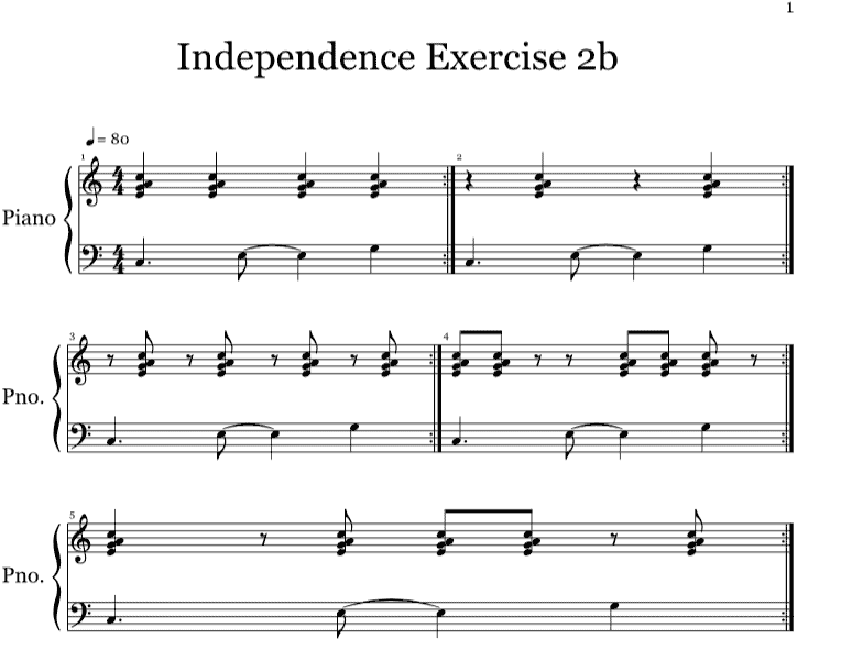 Keyboard New Orleans rhythm independence exercise