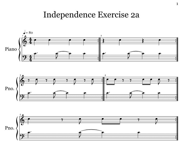 Keyboard New Orleans rhythm exercise