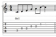 C major pentatonic scale on guitar