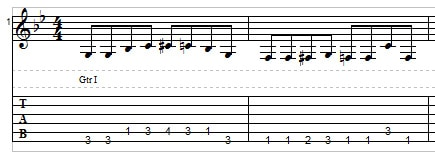 Playing two strings on the guitar - single note bass line