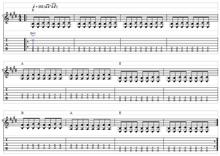 Blues guitar tab example 3