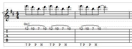 Two-hand tapping for guitar example 3