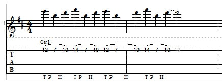 Two-hand tapping for guitar example 2