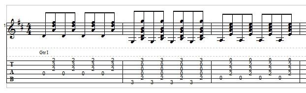 Bluegrass rhythm guitar exercise 3