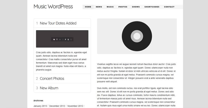 Music WordPress Theme – For Musicians / Artists