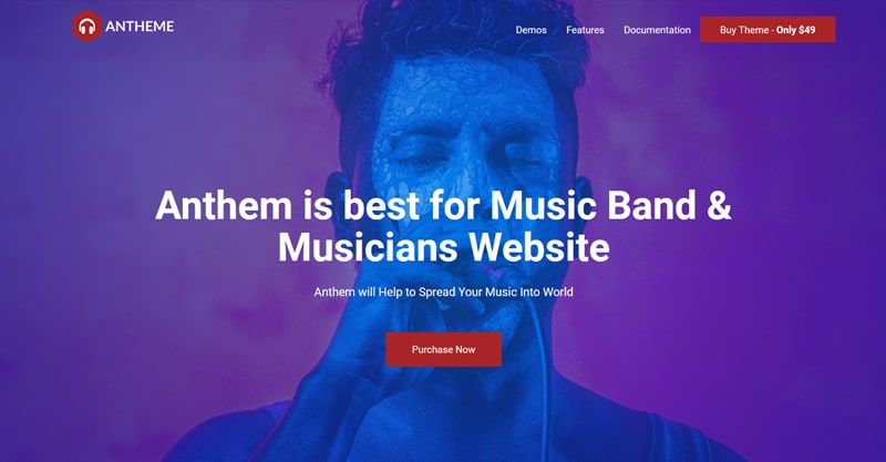 Anthem – Music Band Artist & Musical Event WordPress Theme