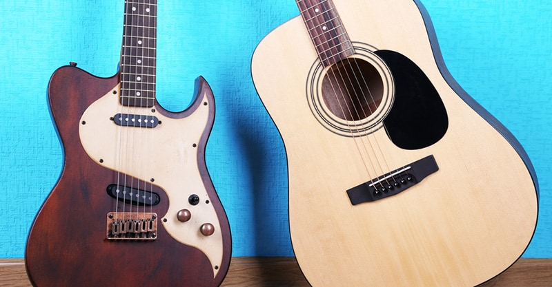 Learning acoustic or electric guitar