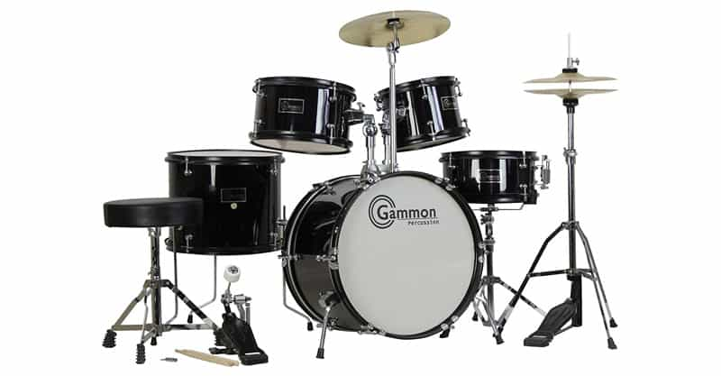 Gammon 5-Piece Junior Starter Drum Kit With Cymbals, Hardware, Sticks & Throne