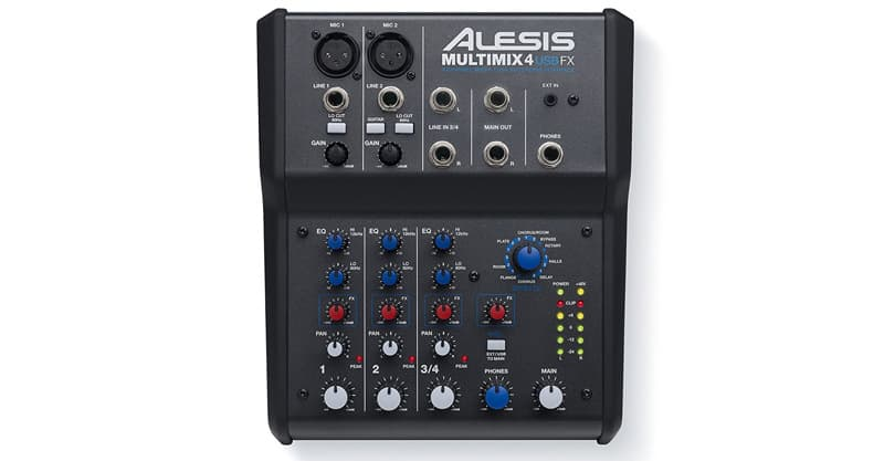 Alesis MULTIMIXUSBFX 4-Channel Mixer With Effects & USB Audio Interface