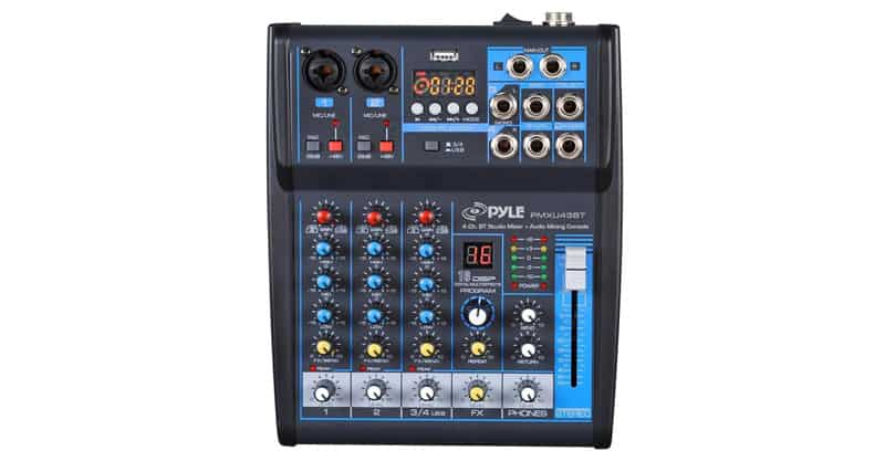 Pyle Professional Audio Mixer Sound Board Console System Interface 4 Channel Digital USB Bluetooth MP3