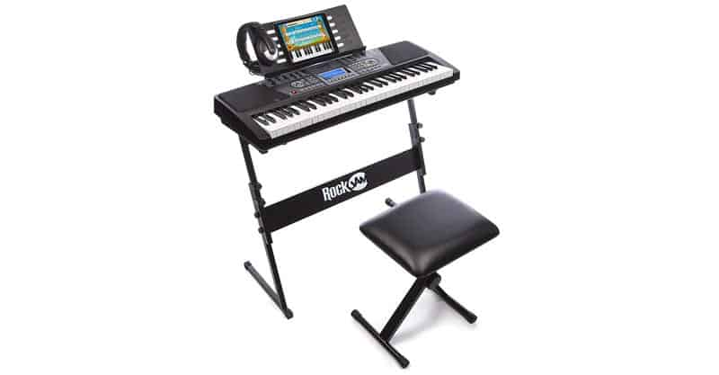 RockJam 561 61-Key Electronic Keyboard Piano SuperKit With Stand, Stool, Headphones & Power Supply