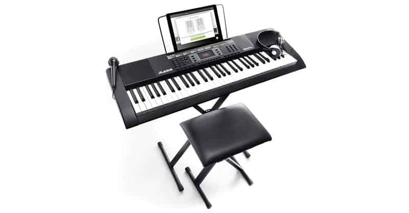 Alesis Melody 61 MkII – 61-Key Portable Keyboard With Built-In Speakers, Headphones, Microphone, Piano Stand, Music Rest And Stool