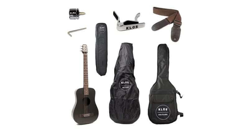 KLOS Black Carbon Fiber Travel Acoustic Electric Guitar Package