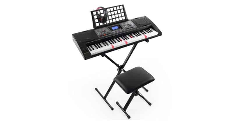 Joy KL-92UT-KIT 61-Key Lighted Touch Sensitive & USB-MIDI (App) Keyboard Kit With Stand, Stool, Headphone & Power Supply