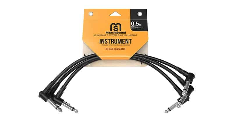 Miracle Sound Guitar Patch Cable For Pedalboard Effects With Right Angle Plug 3-Pack