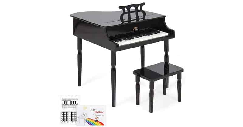 Best Choice Products Kids Classic Wooden 30 Key Miniature Baby Grand Piano