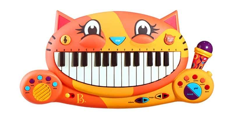 B. toys – Meowsic Toy Piano – Children's Keyboard Cat Piano With Toy Microphone For Kids 2 Years+