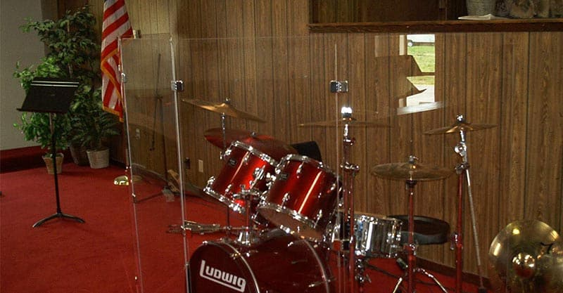 Drum Shield DS3C 5 Panels 2 Foot X 4 Foot Chrome Hinges