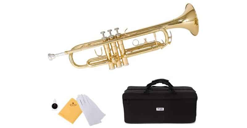 Mendini By Cecilio Gold Brass Standard Bb Trumpet With Hard Case, Gloves, 7C Mouthpiece & Valve Oil