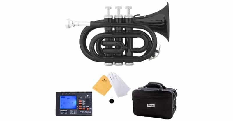 Mendini MPT-BK Lacquer Brass Bb Pocket Trumpet