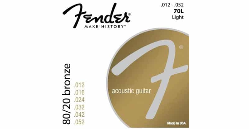 Fender 70L 0730070403 80/20 Bronze Ball End Acoustic Guitar Strings