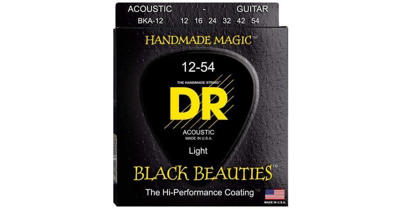 DR Strings Black Beauties Acoustic Guitar Strings – Black Coated