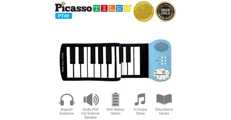PicassoTiles PT49 Kid's 49-Key Flexible Roll Up Piano