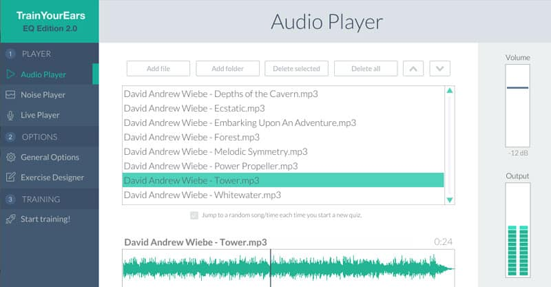 The Train Your Ears audio player