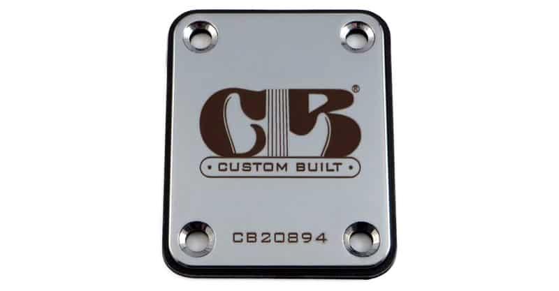 "LazrArt ""Custom Built"" Engraved Guitar Neck Plate"