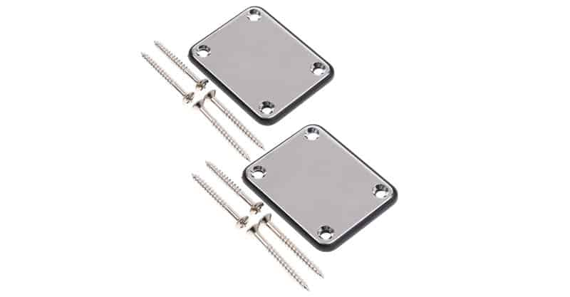 Oneflysky 2 Pack Guitar Metal Neck Plates With Plastic Mat For Strat Tele Style Electric Guitar