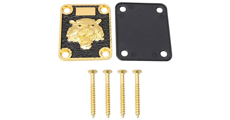 Mxfans Gold And Black Neck Plate Engraved Animal Head Pattern & Screws For Guitar