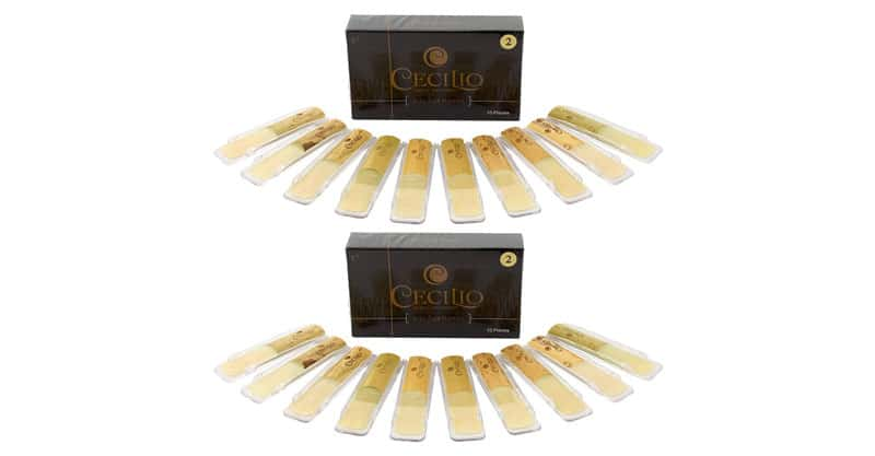 Cecilio Alto Saxophone Reeds, Two 10-Packs With Individual Plastic Case, Strength 2.0