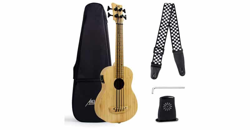 AKLOT Solid Bamboo Electric Bass Ukulele